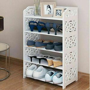Cabinet White 3/4/5 Tiers Shoe Rack Storage Shelf Display Stand Organiser Unit