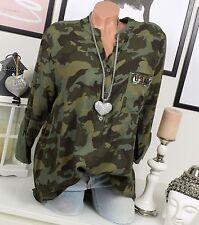 Ejército Camisa Militar Blusa Extra Grande Remaches Camuflaje Vintage 38 40 42