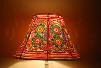 Floral Floor Lampshade / Hand Painted Leather Lamp shade / Floor Lamp