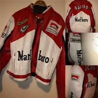 Marlboro Racing Jacket Rare Leather Biker Jacket Xl Michelin Jacket 46""