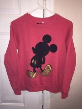 Disney Mickey Mouse Crewneck Pink/Red Sweater Women's Small