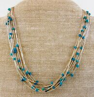 DTR Liquid Silver Turquoise Heishi Beaded Necklace Sterling 925 20 In Adjustable