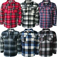 Mens Padded Shirt Sherpa Fur Lined Lumberjack Flannel Work Jacket Warm Thick Top