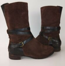 UGG DEANNA Womens Boots US 7 Brown Leather Suede Side Zip Buckle Strap 2406