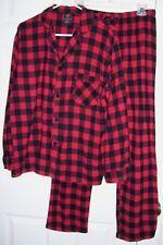 Hanes Men Pajamas M Button Up Long Sleeve 100% Cotton Flannel Red/Black Checks