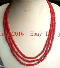 Natural 3 Row New 2x4mm Red Coral Abacus Gemstone Necklace 17-19''
