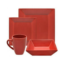 Red Square Dinnerware Set 16 Piece Service for 4 Plates Dishes Bowls Dinner Mugs