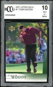 2001 Upper Deck #1 Tiger Woods Golf Rookie Card BGS BCCG 10 Mint+