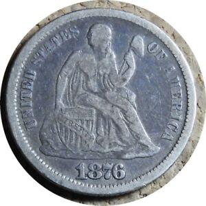 elf Seated Liberty Dime 1876 CC  Legend Obverse