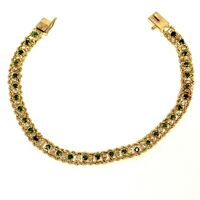 14k yellow gold .46ct diamond Emerald rope link tennis bracelet 6.3g vintage 7""