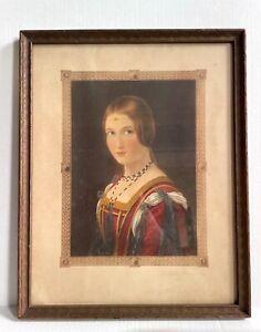 La Belle Ferronniere After Leonardo da Vinci, Antique/Vintage Framed Lithograph