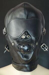 Leder Kopfmaske mit Ballknebel Augenklappe Bdsm Bondage Hogtied Fetish