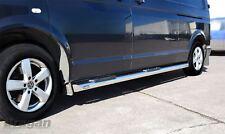 To Fit 2015+ VW T6 Transporter Caravelle SWB Side Bars + Step Pads + White LEDs