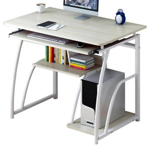 PC Computer Desk With Storage Shelves Keyboard Tray Laptop Workstation Table