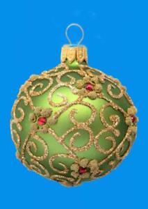 6cm GREEN GOLD KUGEL BALL EUROPEAN BLOWN GLASS CHRISTMAS ORNAMENT