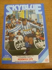 29/12/1990 Coventry City v Norwich City  (Light Fold, Team Changes). Condition: