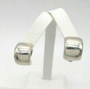 "Classic 925 Sterling Silver Clip On Huggies Earrings 5/8"" H - 1/2"" W - 13 grams"