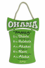 Hawaiian Style Hanging Wall Wood Sign Ohana Means Island Hawaii Home Bar Decor N