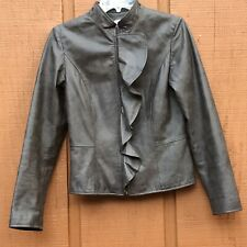 Boston Proper Women's Size 4 Brown Leather Zip Up Jacket Ruffle Front
