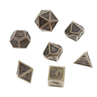 7 Pack Polyhedral Metal Dice Bronze for Dungeons&Dragons DnD Pathfinder
