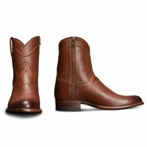 Men Leather Western Cowboy Short Calf Boots Flat Heel Zip Ankle Boots Shoes Size