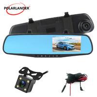 """4.3 """"coche 1080P Auto DVR espejo retrovisor Dash Cam lente doble+cámara trasera"""