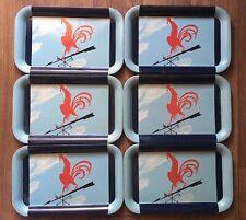 {Set 6} ROOSTER SERVING TRAY Weather Vane TV Tin Dinner Platter Chicken/ Vintage