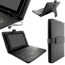 Magnetic Universal Leather Tablet Stand Cover Case with Keyboard Fits 7in - 10in