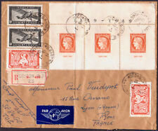 1949 FRENCH INDO-CHINA REGISTERED COVER SAIGON TO LYON 31 stamp!