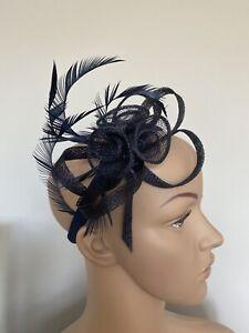 NEW Navy Blue Headband Fascinator Wedding Ladies Race Day fashion Accessories