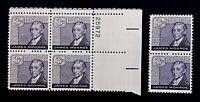 US Stamps, Scott #1105 James Monroe 3c Plate Block & pair. XF M/NH. Fresh