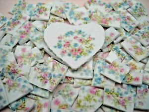 FORGET ME NOTS & ROSES ~ BROKEN CHINA MOSAIC TILES ~ 94 tiles + HEART FOCAL
