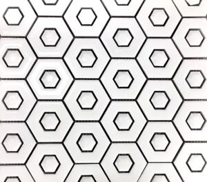 "Hex'n Hex White 2"" Hexagon Ceramic Decorative Mosaic Wall Tile Kitchen Bath"