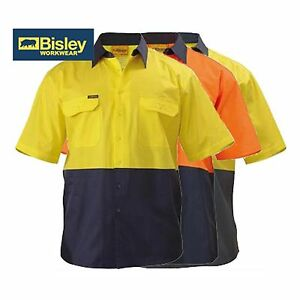 NEW! Bisley TWO TONE COOL LIGHTWEIGHT DRILL SHIRT ALL SIZES ALL COLOURS BS1895