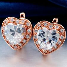 Pretty New Classic Rose Gold Plated Heart Shaped Clear White CZ Hoop Earrings