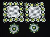 Set of 4 Vintage Green Yellow White Floral Crochet Table Dresser Set Doilies