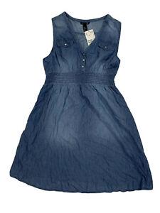New H&M Mama Medium Chambray Sleeveless Maternity Denim Dress