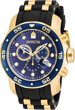 Invicta Men's Pro Diver Gold Plated Case Black Polyurethane Watch 17882