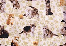 Fat Quarter Furry Friends Cats Feline Cotton Quilting Fabric Nutex