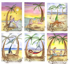 BEACH MERMAID NOTE CARDS from Original Watercolors by Camille Grimshaw