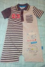 New Baby Boy Mamas And Papas Grey Striped Space Romper Suit Age 6-9 Mths