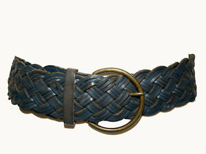 Oroton Vintage Dark Navy Genuine Leather Wide Plaited Women's Waist Belt Medium