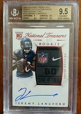 2015 National Treasures Jeremy Langford Auto NFL Logo Patch RC SP /3 BGS 9.5