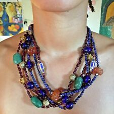 RARE! Handmade Necklace by Alice Kuo, 5 Strand, Gemstone + Glass + Cloisonne