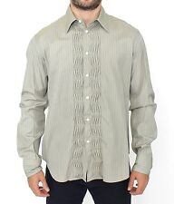 ERMANNO SCERVINO Shirt Green Striped Cotton Casual Long Sleeve IT50 / L RRP $440
