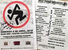 D.R.I. 2018 SANTIAGO CHILE FLYER & SET-LIST SIGNED dirty rotten imbeciles *SCCRF