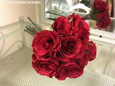 Tied Bouquet of Artificial Silk Deep Red Roses Wedding or Home Decor