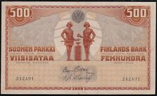 1909 Finland 500 Markkaa Imperial Russia Paper Money Banknotes Currency
