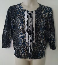 Josephine Black Gray Blue Animal Print 3/4 Sleeve Cardigan Sweater Size XL