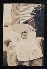 Vintage Antique Photograph Adorable Baby Sitting in Chair in Backyard